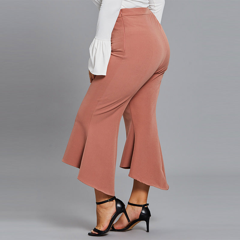 CLOCHE Plus Size Full Length Bell-bottoms High-Waist Pants