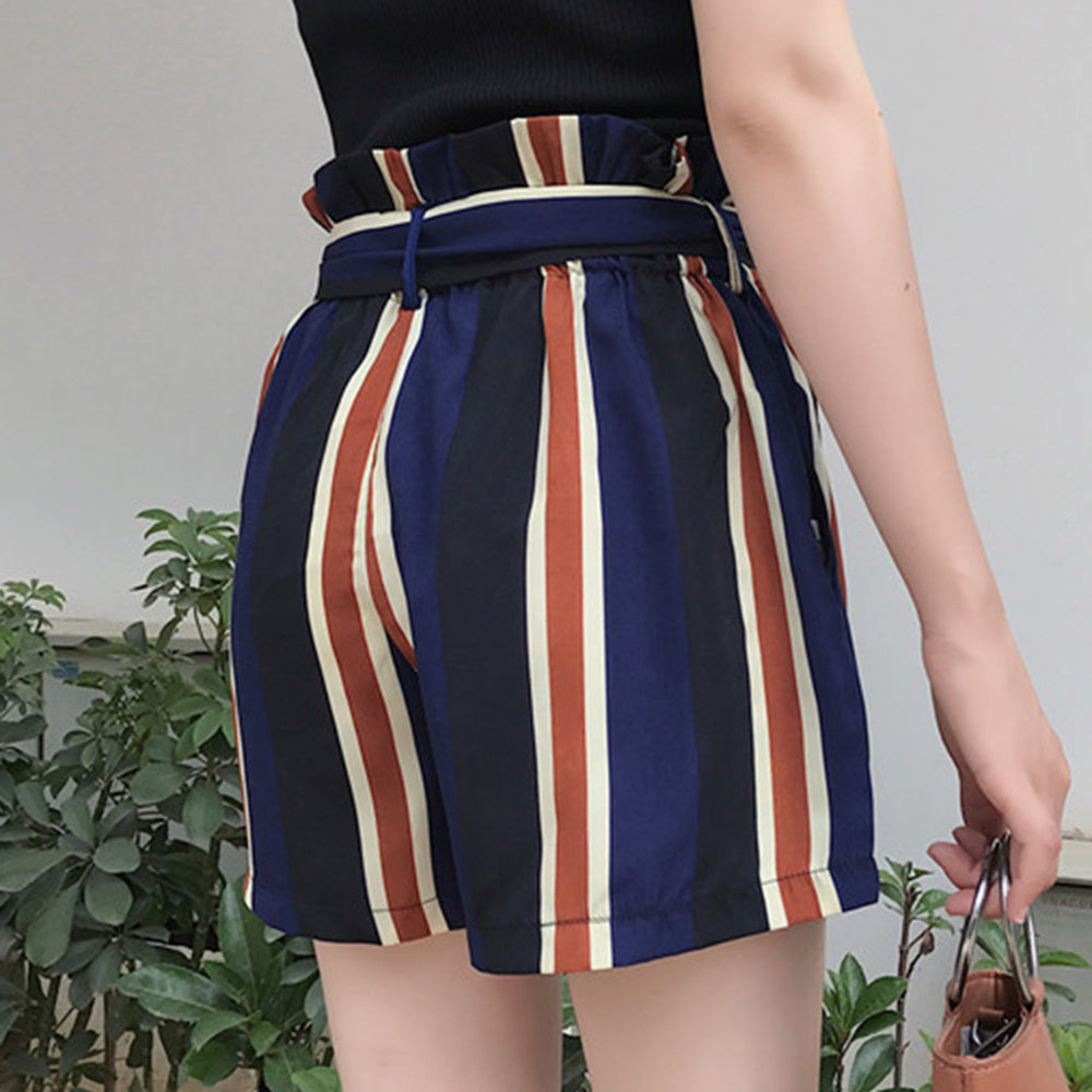 CLOCHE Striped Pleated High Waist Lace-up Shorts