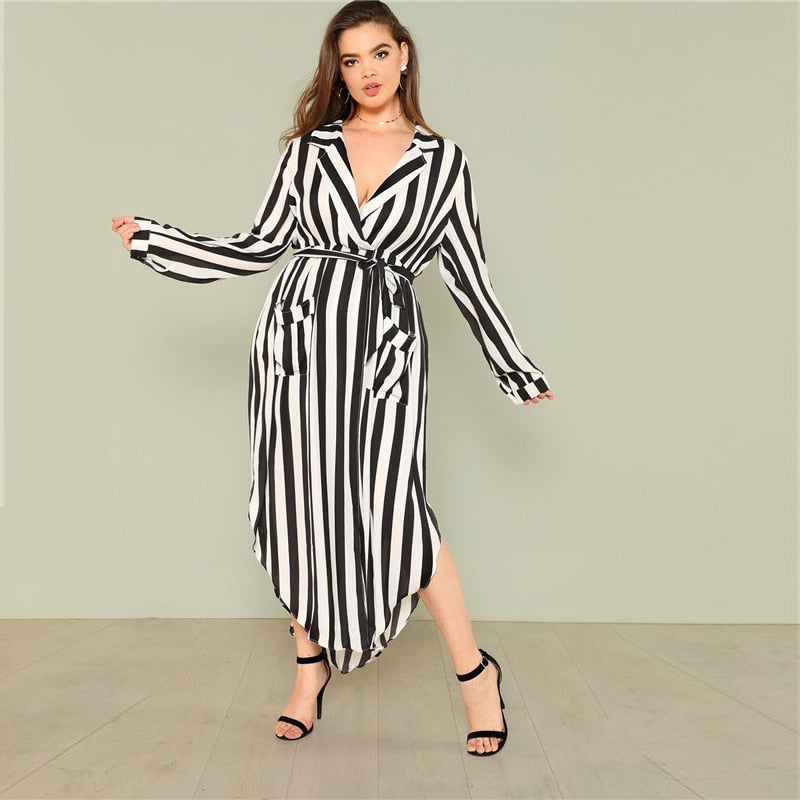 CLOCHE Striped Formal Richness Dress