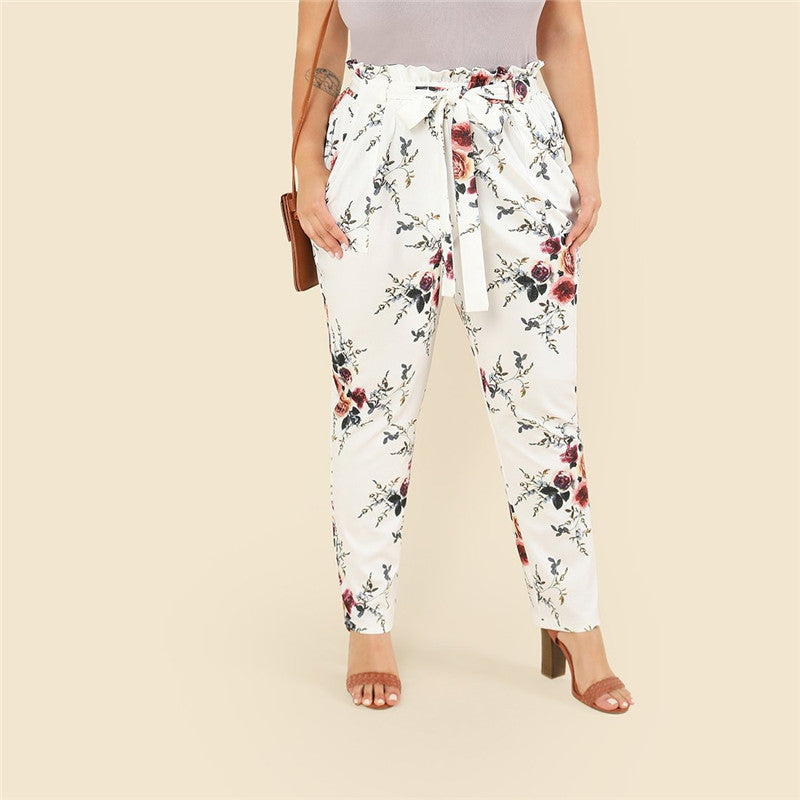 CLOCHE Foral Tapered Plus Pants