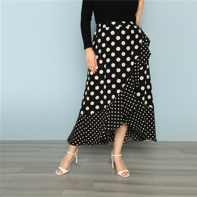 CLOCHE Asymmetric Polka Long Skirt