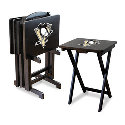 Pittsburgh Penguins NHL TV Tray Set with Rack
