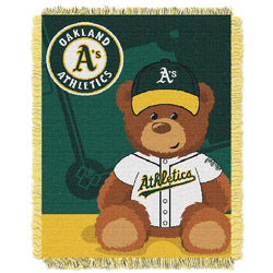 "Oakland Athletics MLB Triple Woven Jacquard Throw (Field Baby Series) (36x48"")"""