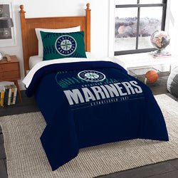 "Seattle Mariners MLB Twin Comforter Set (Grand Slam Series) (64 x 86"")"""