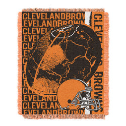 "Cleveland Browns NFL Triple Woven Jacquard Throw (Double Play) (48x60"")"""