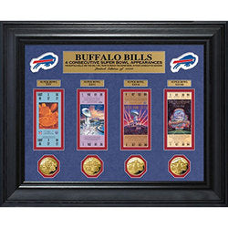 Buffalo Bills 4 Consecutive Super Bowl Appearances Deluxe Ticket & Game Coin Collection