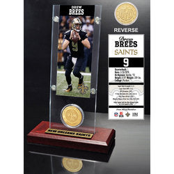 Drew Brees Ticket & Bronze Coin Acrylic Desk Top