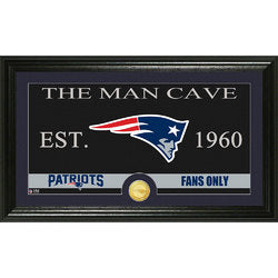 "New England Patriots The Man Cave"" Bronze Coin Panoramic Photo Mint"""