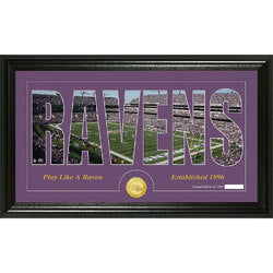 "Baltimore Ravens Silhouette"" Bronze Coin Panoramic Photo Mint"""