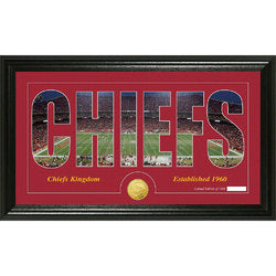 "Kansas City Chiefs Silhouette"" Bronze Coin Panoramic Photo Mint"""