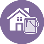 purple icon of house with paint can