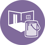 purple icon of interior with paint can