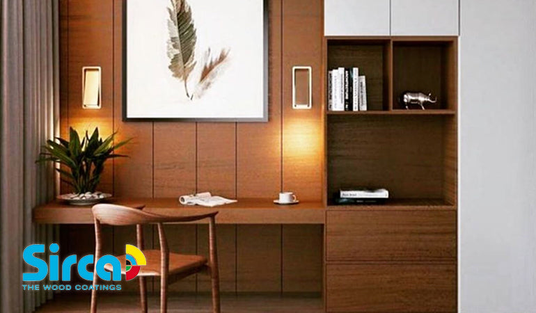 A wooden desk and cupboards that have been stained using Sirca Stain, available at Colorize in New York.