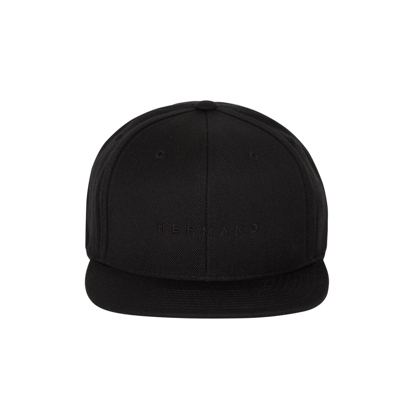 HERMANO BLACK SNAP BACK BLACK TEXT EMBROIDERY