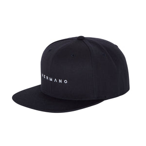 HERMANO BLACK SNAP BACK TEXT EMBROIDERY