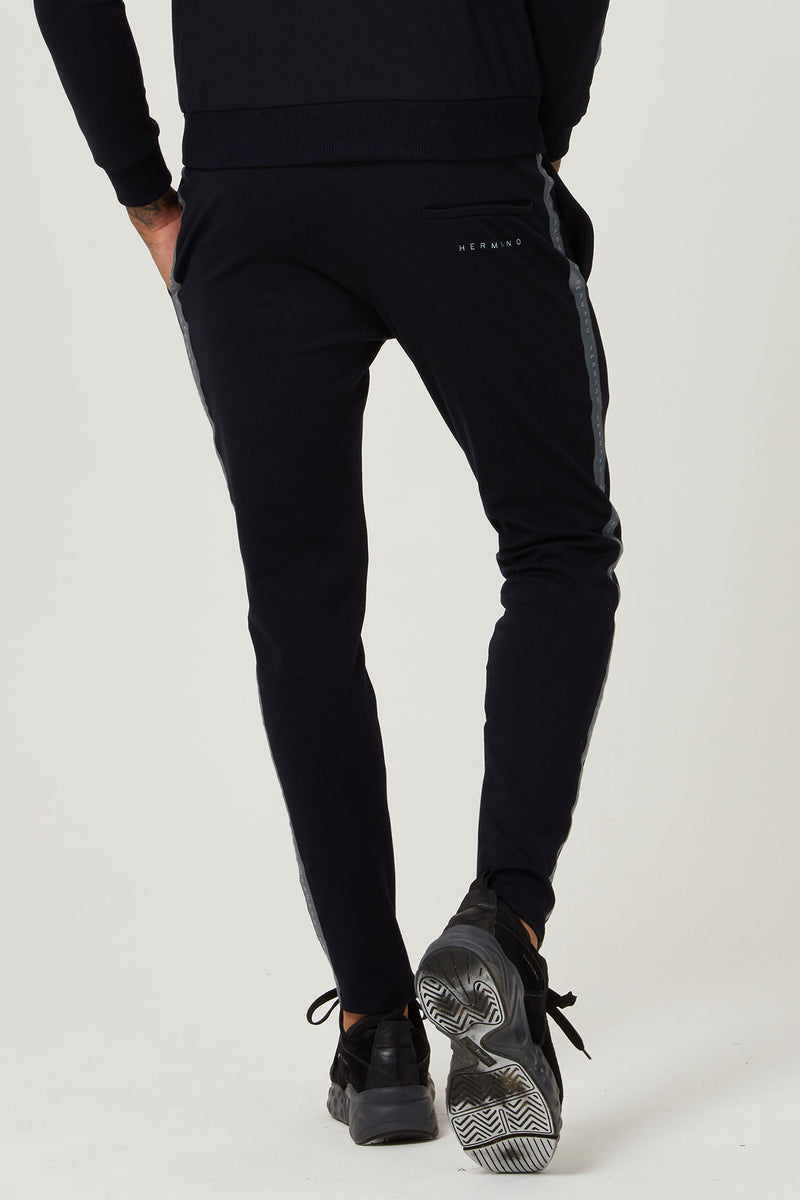 TAPED JERSEY TRACK PANT NAVY - H E R M A N O