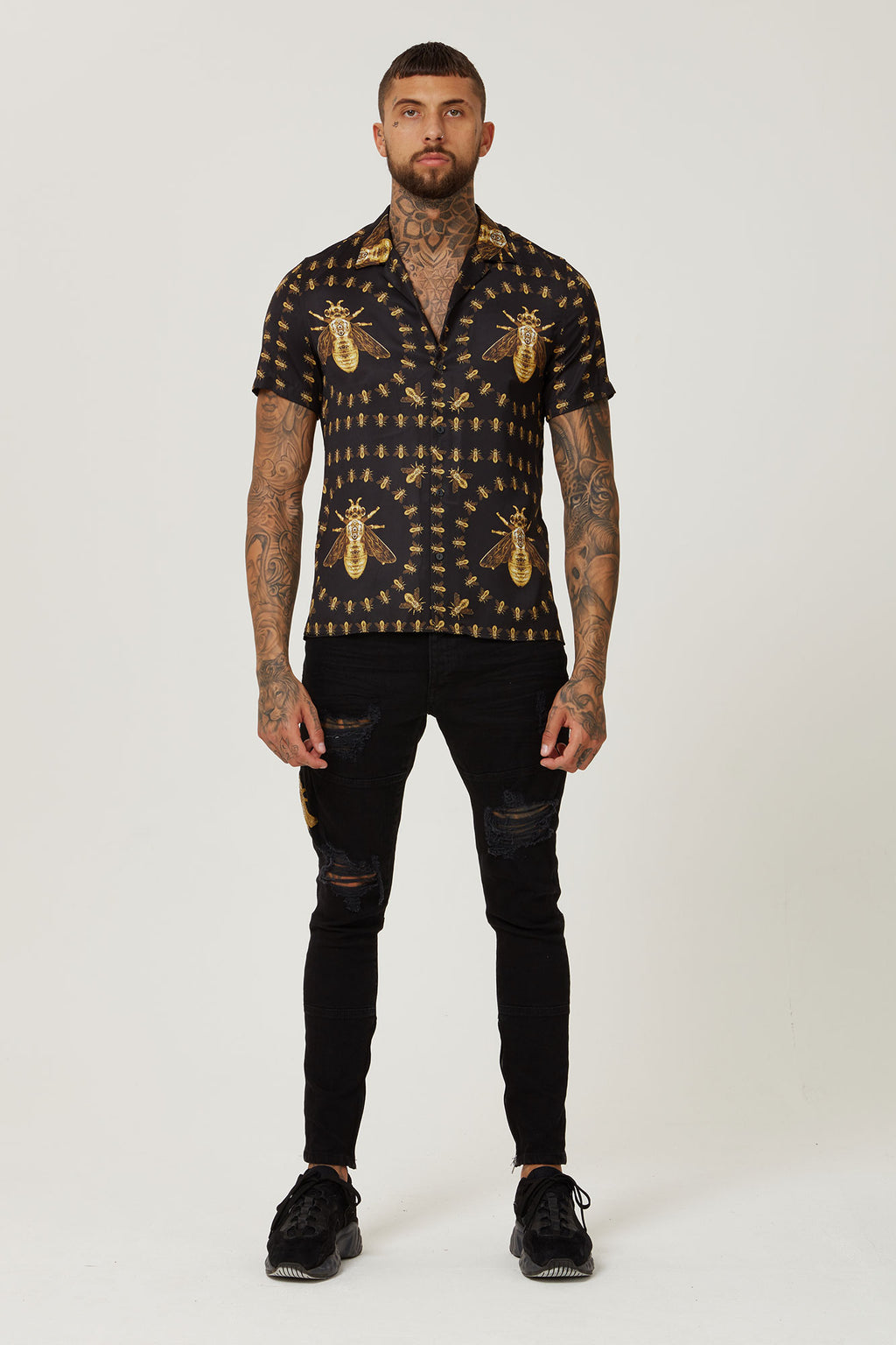 HERMANO CROCODILE BLACK GOLD CUBAN S/S SHIRT - H E R M A N O