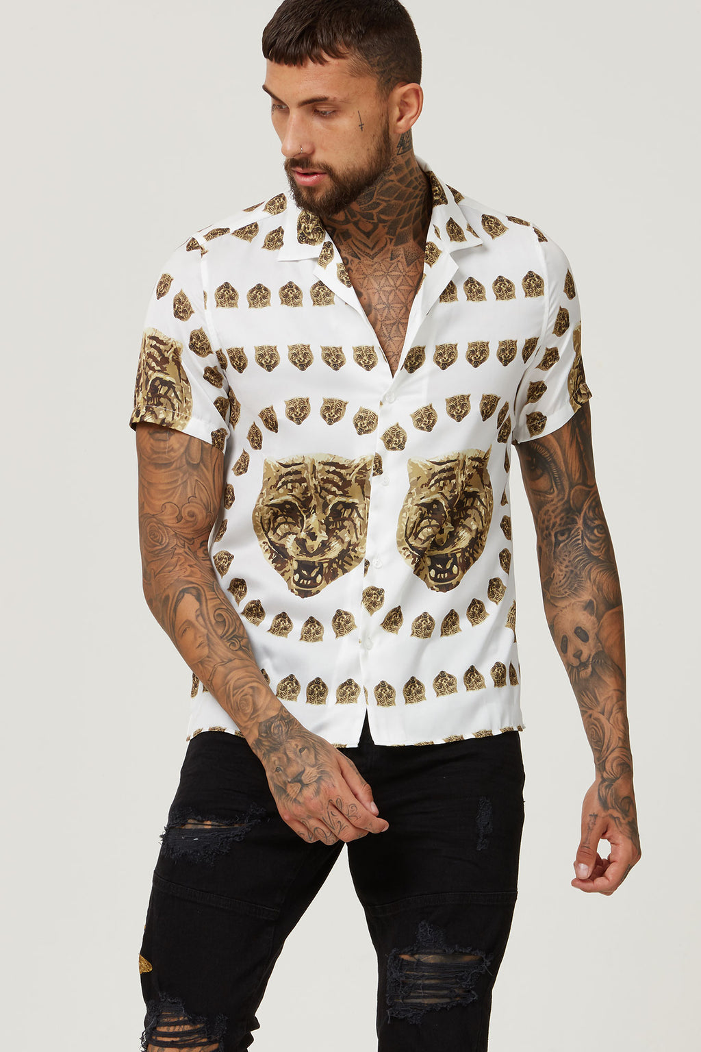 HERMANO TIGER WHITE GOLD CUBAN S/S SHIRT