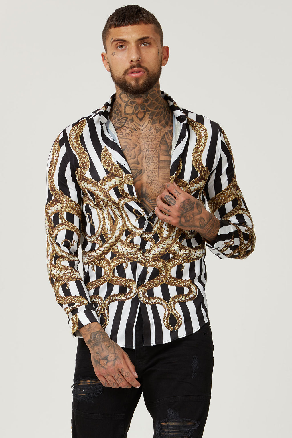 HERMANO SNAKE LONG SMART COLLAR LONG SLEEVE SHIRT - H E R M A N O