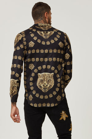 HERMANO TIGER BLACK CUBAN LONG SLEEVE SHIRT - H E R M A N O