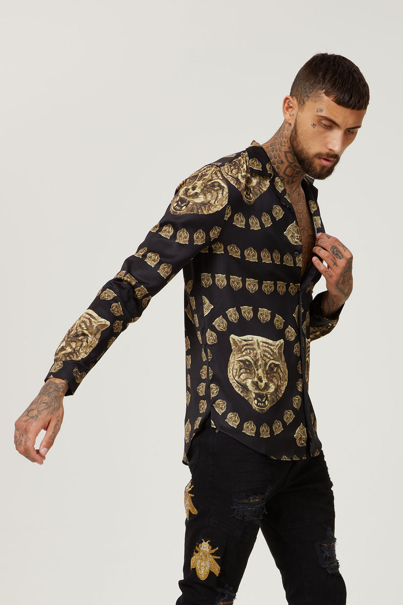 HERMANO TIGER BLACK CUBAN LONG SLEEVE SHIRT