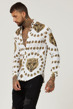 HERMANO TIGER WHITE LONG SMART COLLAR LONG SLEEVE SHIRT