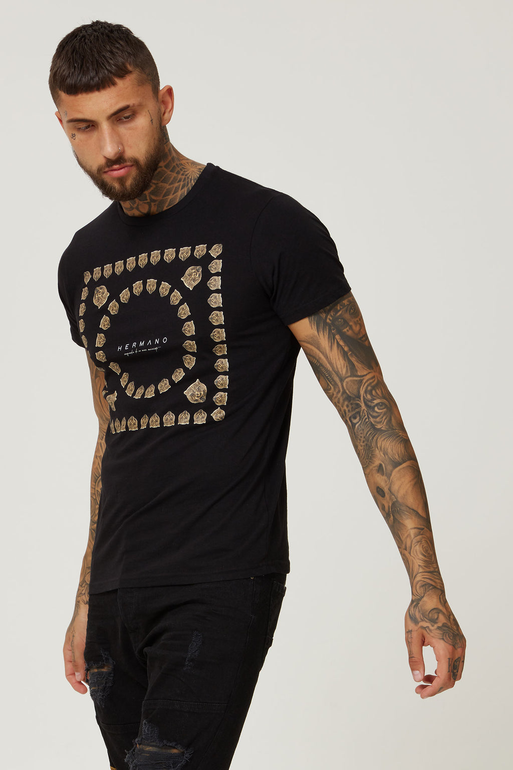 HERMANO BLACK TSHIRT TIGER DESIGN - H E R M A N O