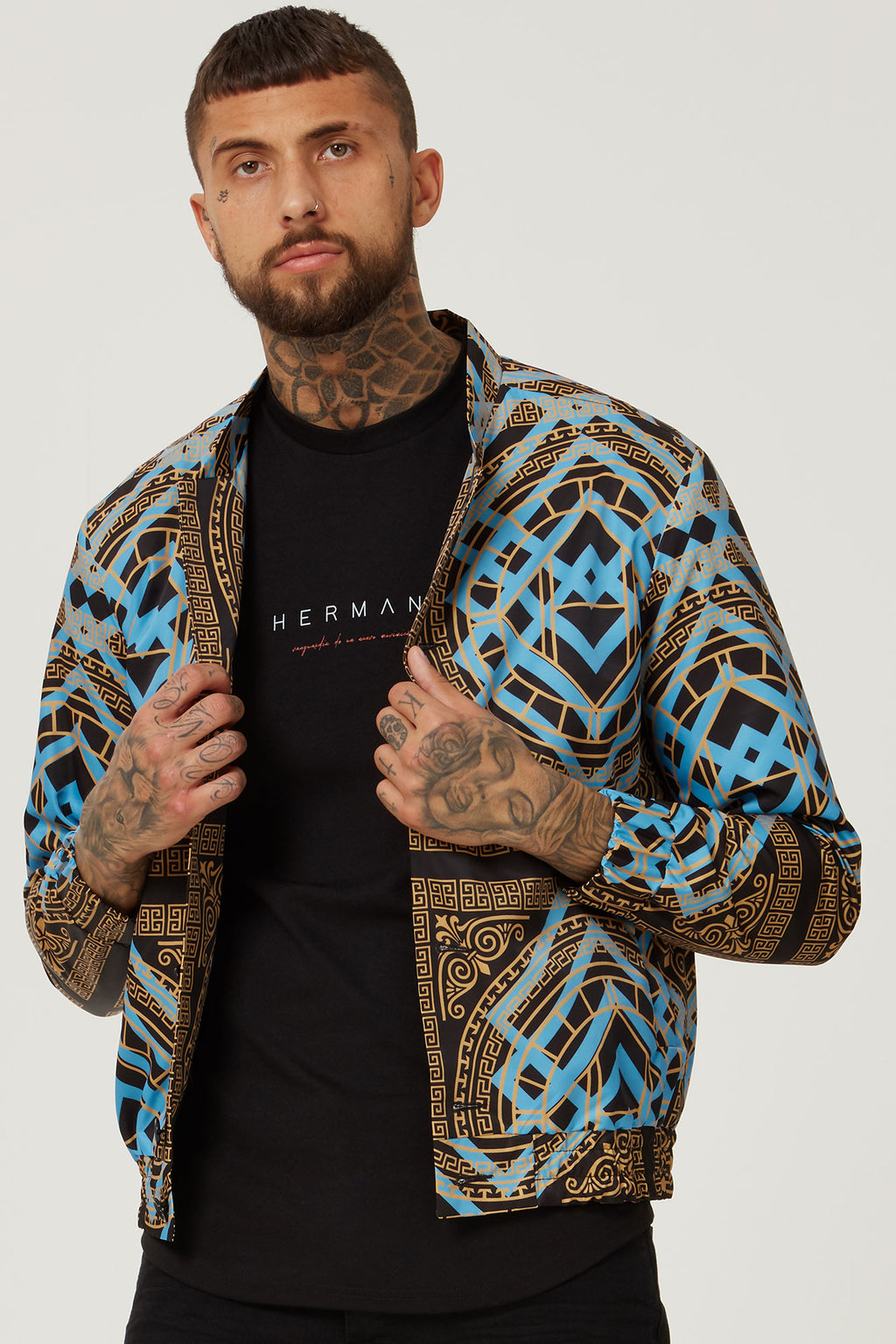 BOMBER JACKET HOUSE PRINT GOLD/BLUE