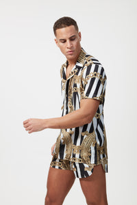HERMANO ALL BLACK WHITE CROC S/S CUBAN SHIRT - H E R M A N O