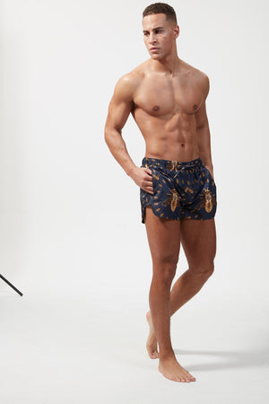 HERMANO PRINTED GRAPHIC BEACH SHORT TIGER BLACK/GOLD