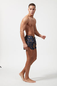 HERMANO PRINTED BEACH SHORT BEE BROACH BLUE