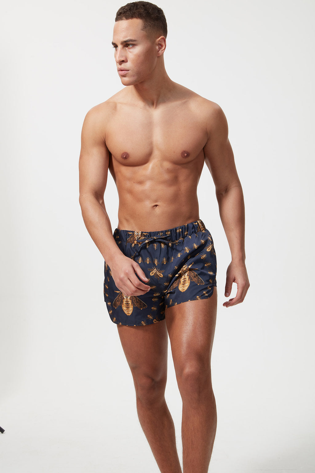 HERMANO PRINTED BEACH SHORT BEE BROACH BLUE - H E R M A N O