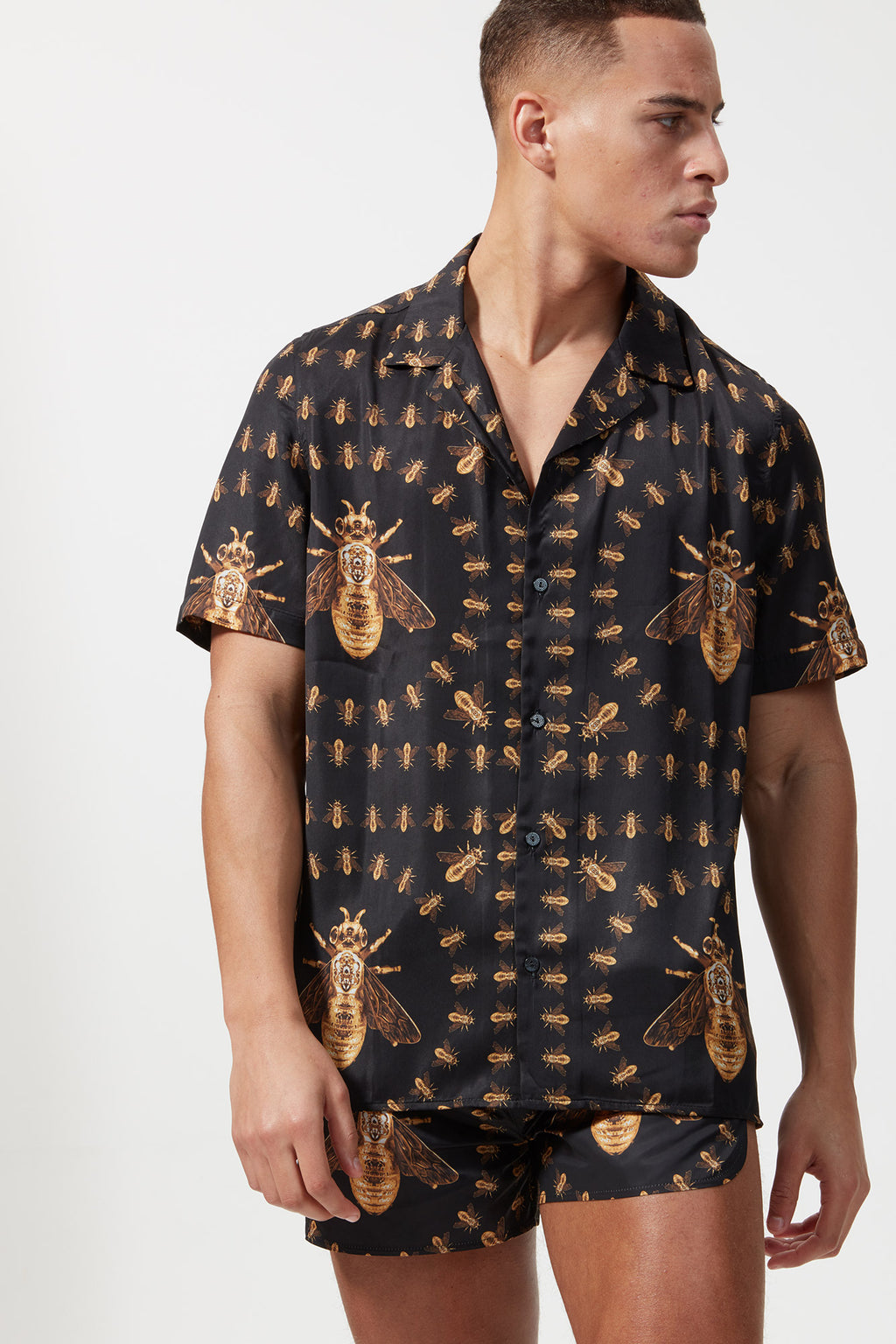 HERMANO PRINT BEE S/S CUBAN COLLAR