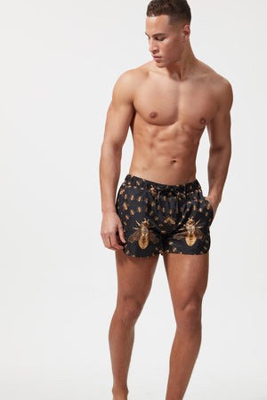 PRINTED BEACH SHORT BEE BLACK - H E R M A N O