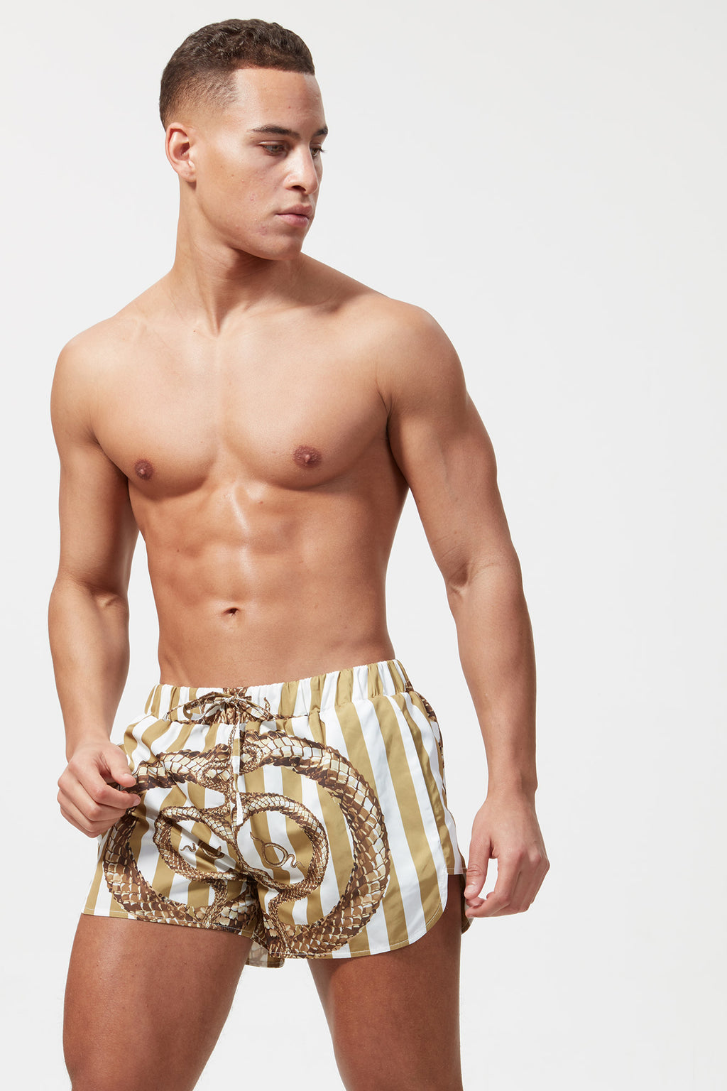 PRINTED BEACH SHORT GOLD / WHITE SNAKE