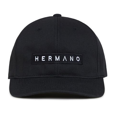 Black Hermano Logo Embroidered Snapback Cap - H E R M A N O