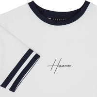 WHITE T-SHIRT WITH CHEST PRINT AND CONTRAST STRIPE NECK - H E R M A N O