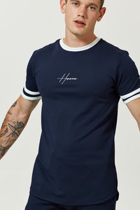 NAVY T-SHIRT WITH CHEST PRINT AND CONTRAST STRIPE NECK - H E R M A N O