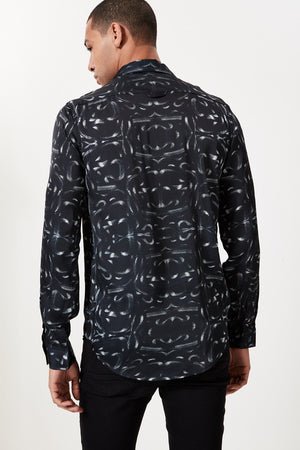 Black All Over Snake Print Long Sleeve Shirt - H E R M A N O