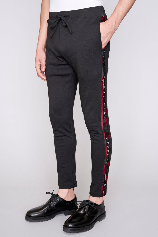 Black logo taped slim fit joggers - H E R M A N O