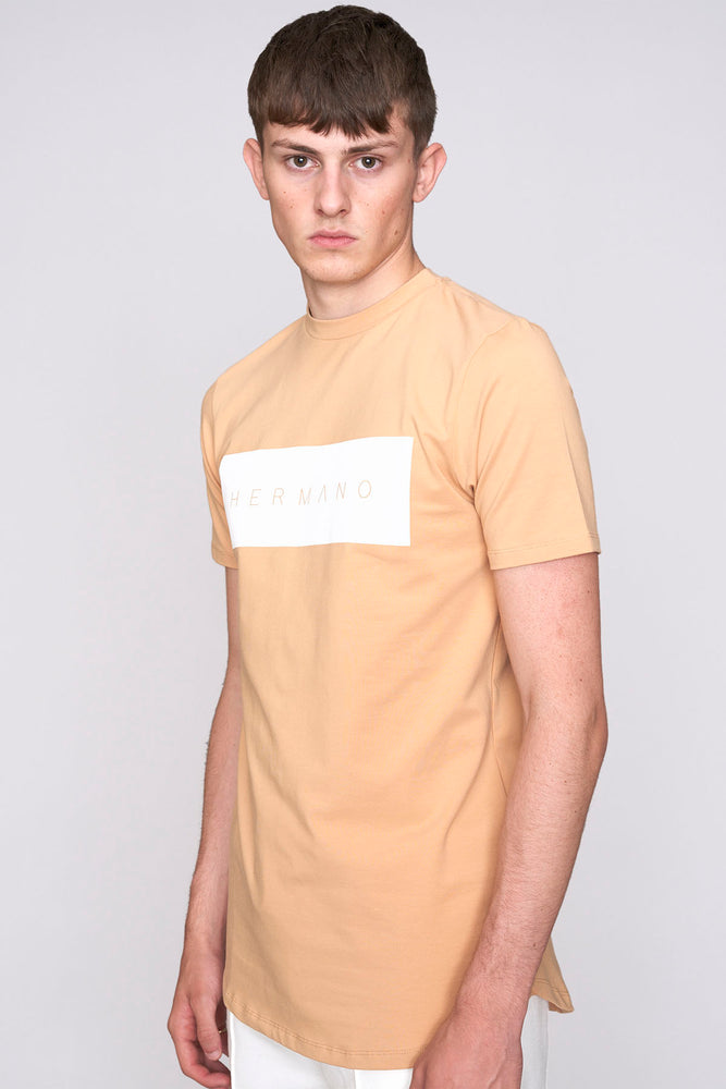 Tan Hermano logo print long line slim fit t-shirt - H E R M A N O