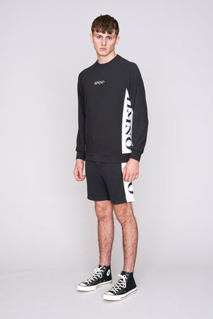 Load image into Gallery viewer, Black HMNO logo taped regular fit sweatshirt - H E R M A N O
