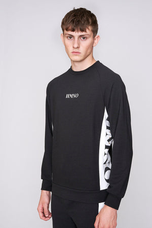 Black HMNO logo taped regular fit sweatshirt - H E R M A N O