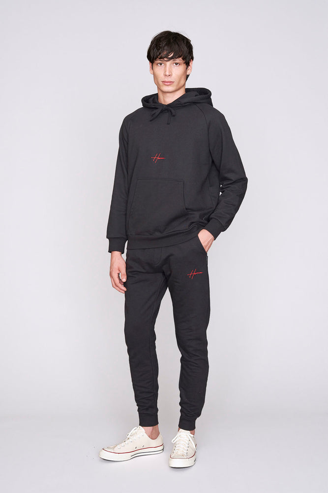 Black embroidered logo regular fit joggers - H E R M A N O