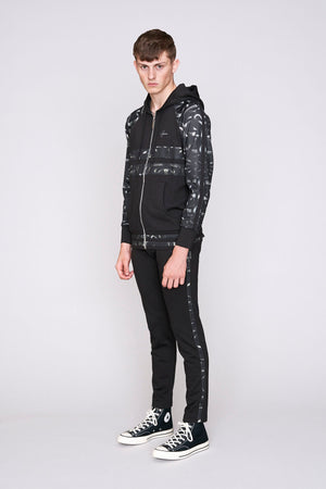 Load image into Gallery viewer, Black contrast print zip through hoodie - H E R M A N O