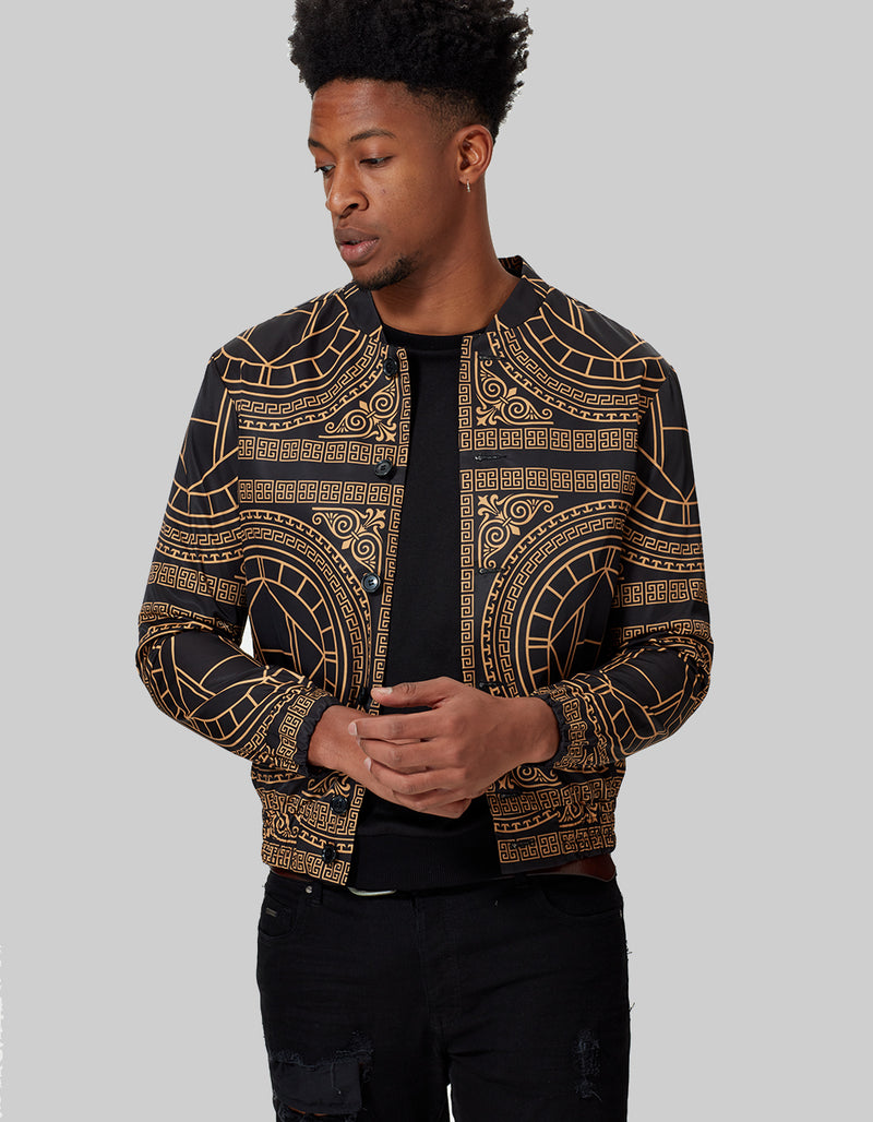BOMBER JACKET HOUSE PRINT GOLD