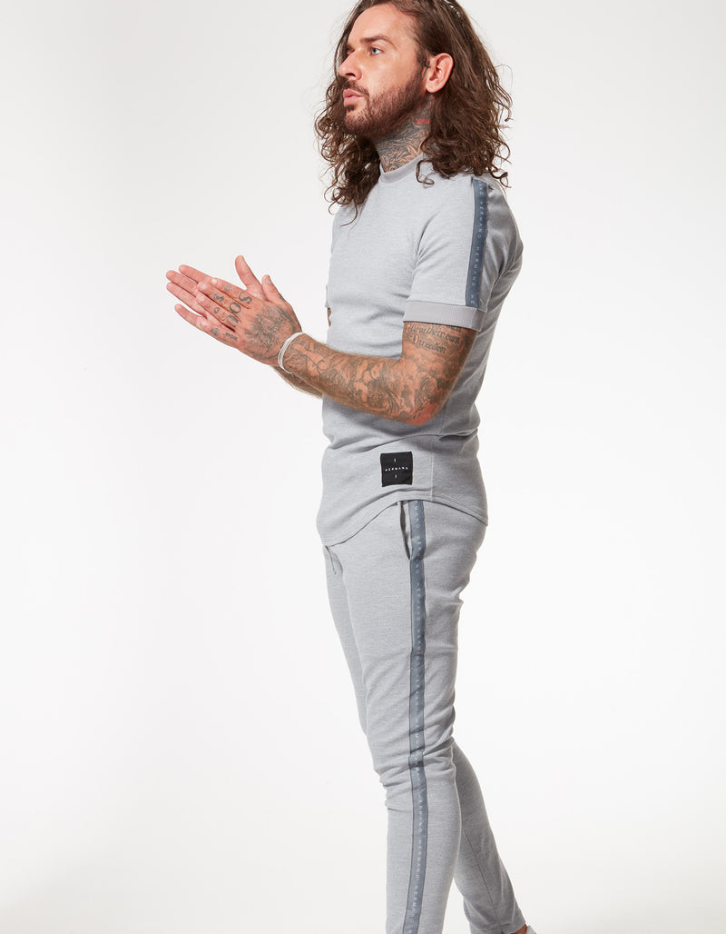 TAPED JERSEY TRACK PANT MARL GREY