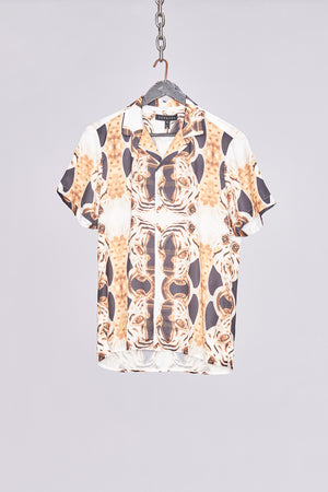 Load image into Gallery viewer, White Jaguar Print Revere Collar Shirt - H E R M A N O