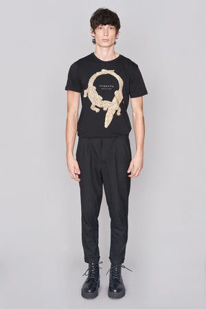 Load image into Gallery viewer, Black Crocodile Print T-Shirt - H E R M A N O
