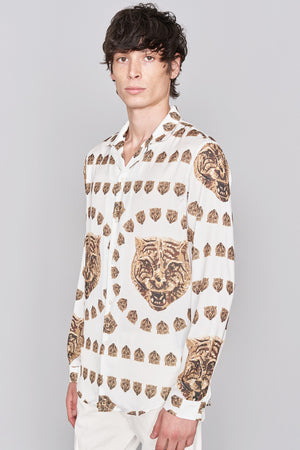 White Revere Collar Tiger Print Long Sleeve Shirt - H E R M A N O
